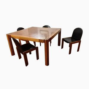 Rosewood Dining Table & Chairs Set by Afra & Tobia, 1970s, Set of 5