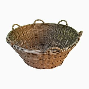 Large Rustic Wicker Basket, 1930s