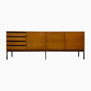 Mid-Century Mahogany Sideboard with Anthracite Steel Frame by Dieter Wäckerlin for Behr, 1950s