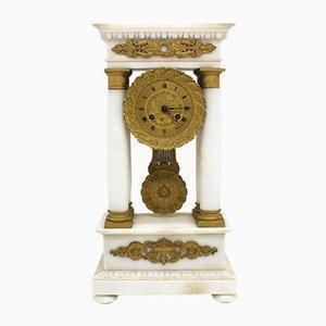 Horloge 19ème Siècle en Bronze Doré et Marbre