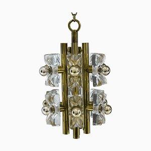 Sische Glass and Brass Chandelier, Vienna, 1960s