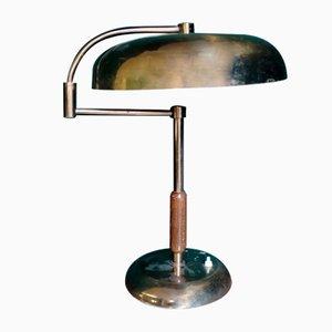 Holz & Messing Tischlampe, 1930er