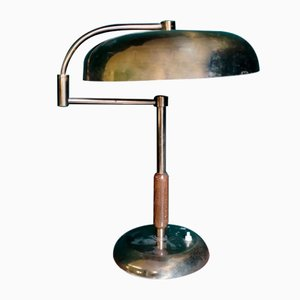 Wood & Brass Table Lamp, 1930s