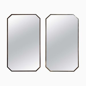 Specchi ottagonali in ottone, anni '40, set di 2