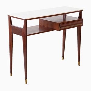 Italian Mahogany & Brass Console Table with Marble Top, 1950s