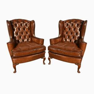Antique English Brown Leather Wing Armchairs, Set of 2