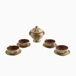 Tazze con contenitore in ceramica smaltata, anni '20, set di 5