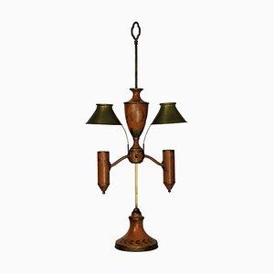Antique Napoleon III Orange Tole Table Lamp