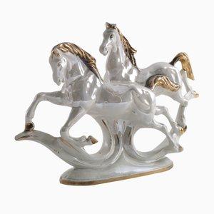 Ornamento in ceramica di cavalli, anni '50