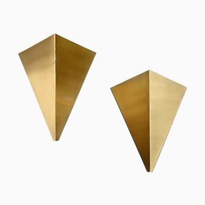 Brass Pyramid Kite Sconces by J. J. M. Hoogervorst for Anvia, 1960s, Set of 2