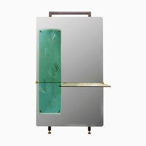 Consolle con specchio decorativo decorativo in cristallo verde, Italia, anni '60