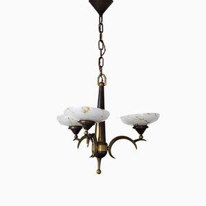 Lampada da soffitto antica in ottone dorato e vetro opalino di Dagobert Peche