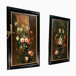 18th Century Dutch School, Flowers Bouquet, Oil on Canvas, Set of 2