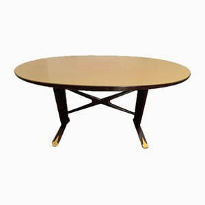 Rosewood Dining Table with Oval Top & Gilded Brass Tips, 1950s