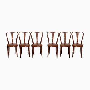 Esszimmerstühle mit Sitz aus Kunstleder von Pirelli Rapsa, 1950er, 6er Set