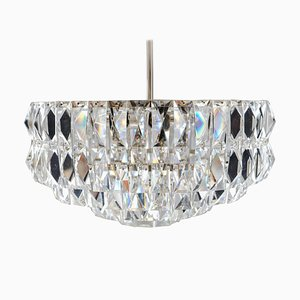 Brass and Crystal Uplight Chandelier by J. T. Kalmar for Kalmar, 1950s