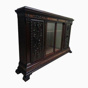 Antique Bookcase / Wardrobe in Walnut and Oak Wood