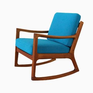 Teak Rocking Chair by Ole Wanscher with Kvadrat Hallingdal Fabric for Cado
