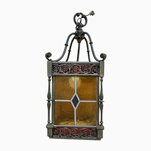 Wrought Iron and Stained Glass Ceiling Lantern Lamp , 1950s