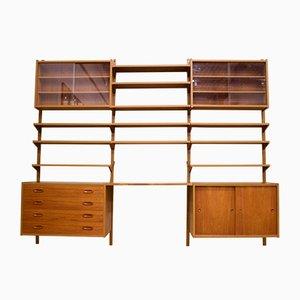 Libreria modulare Mid-Century PS System in teak di Paul Sorensen, Danimarca, anni '60, set di 16