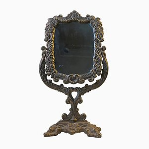 Antique Victorian Cast Iron Table Mirror, 1890