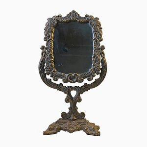 Specchio da tavolo antico vittoriano in ghisa, 1890