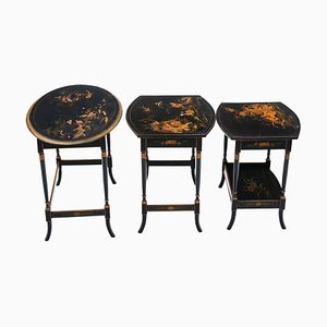 Antique Black Lacquer Nesting Tables, Set of 3