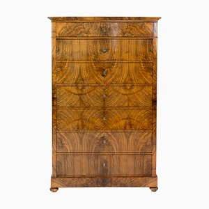 19th Century Walnut Biedermeier Chiffoniere / High Chest of Drawers