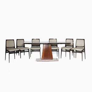 Rosewood Dining Table & Chairs Set from Dassi, 1960s, Set of 7