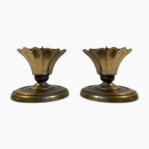 Art Deco Altar Kerzenhalter aus Bronze von CAWA, 1930er, 2er Set