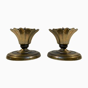 Art Deco Bronze Altar Candleholders from CAWA, 1930s, Set of 2