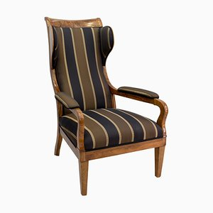 Early 19th Century Biedermeier Solid Walnut Ear / Wing Armchair