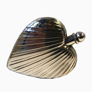 Danish Heart-Shaped Silver Snuff Box from Hans Jensen, 1930s