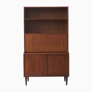 Mid-Century Danish Teak Bar Bookshelf Secretary with Drop Down Flap from Farso Möbelfabrik