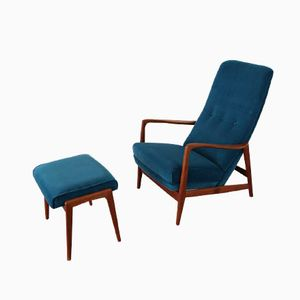 Mid Century Highback Lounge Chair with Ottoman by Gio Ponti for Cassina
