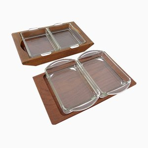 Danish Siam Teak Tray and Glass Bowls from Artiform, Set of 2, 1960s