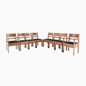 Oak Art Deco Hague School Chairs by H. Fels for L.O.V. Oosterbeek, 1920s, Set of 8
