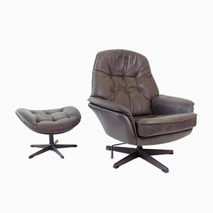 Danish Grey Leather Lounge Chair with Ottoman, 1960s, Set of 2