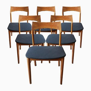 Mid-Century Eichenholz Esszimmerstühle von Henning Kjærnulf für Vejle Mobelfabrik, 6er Set