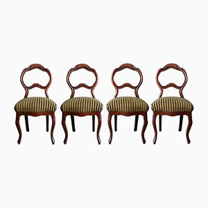 Carved Walnut Chairs, 1840s, Set of 4