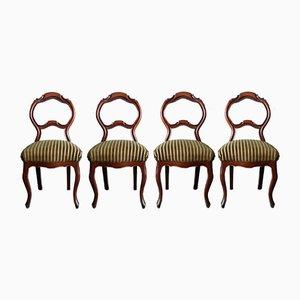 Geschnitzte Stühle aus Nussholz, 1840er, 4er Set