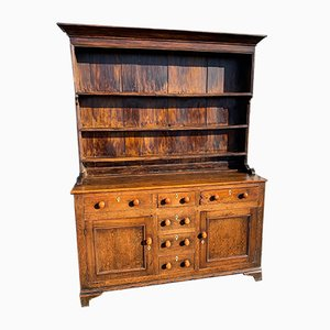 Early 19th Century Oak and Mahogany Antique Welsh Dresser and Rack