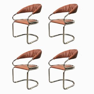 Italian Space Age Dining Chairs by Giotto Stoppino, 1970s, Set of 4