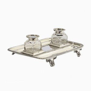Antique Sterling Silver Inkstand with Twin Silver Lidded Glass Inkbottles from Elkington & Co., 1898, Set of 3