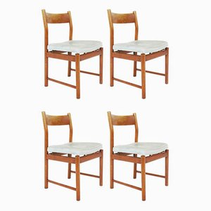 Dining Chairs in Patinated Light Azure Leather by Ilmari Tapiovaara for La Permanente Mobili Cantù, 1957, Set of 4