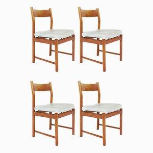 Esszimmerstühle aus Hellblauem Leder von Ilmari Tapiovaara für La Permanente Mobili Cantù, 1957, 4er Set