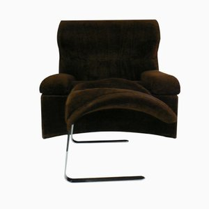 Vela Alta Lounge Chair with Curved Back and Foot Stool by Giovanni Offredi for Saporiti