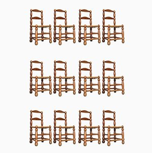 Mid-Century French Mountain Dining Chairs, 1950s, Set of 12