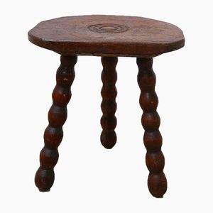 Mid-Century French Wooden Low Stool, 1950s