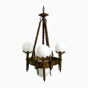 French Gold-Plated Iron Chandelier, 1950s